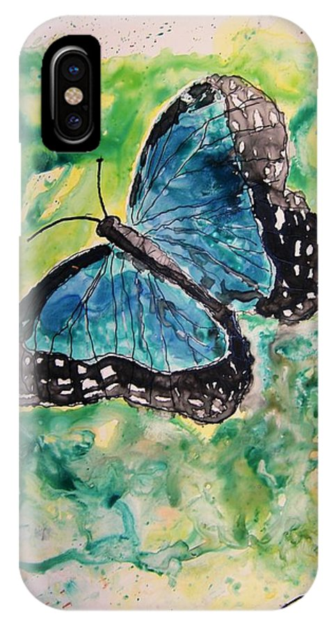 Wildlife IPhone X Case featuring the painting Blue Butterfly by Derek Mccrea