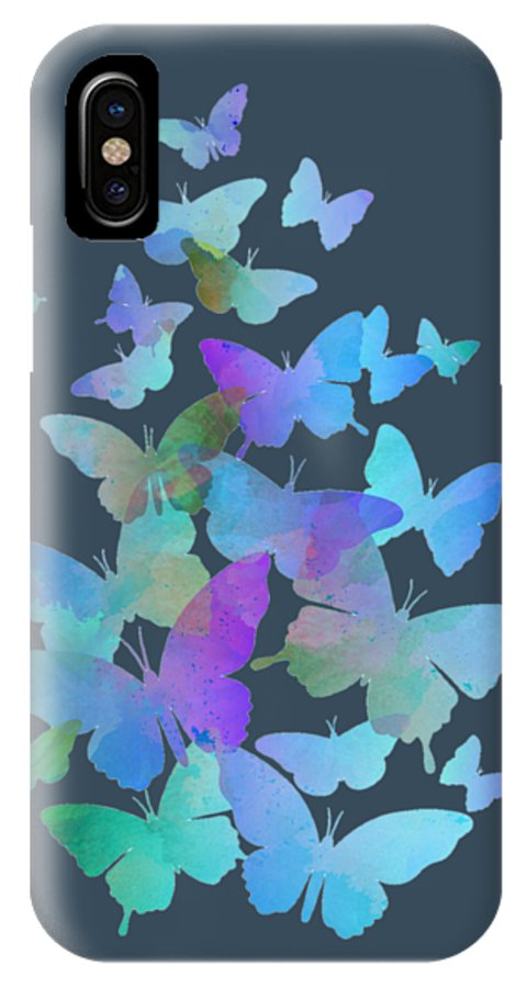 Abstract IPhone X / XS Case featuring the digital art Blue Butterfly Flutter by Alondra Hanley