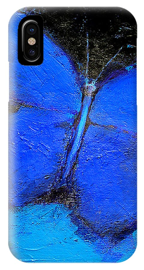 Butterfly IPhone X Case featuring the painting Blue Butterfly by Noga Ami-rav