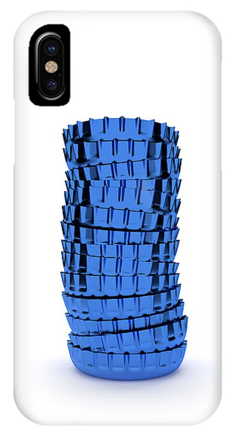 Stacked IPhone X Case featuring the digital art Blue Cap by Andreas Berheide