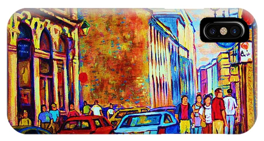 Montreal IPhone X / XS Case featuring the painting Blue Cars At The Resto Bar by Carole Spandau
