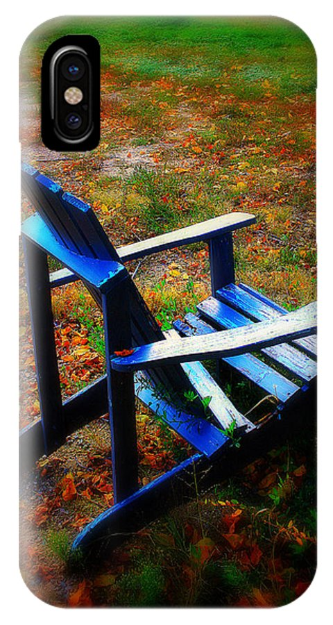 Chair IPhone X Case featuring the photograph Blue Chair by Perry Webster