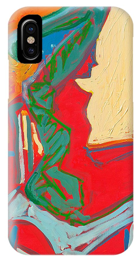 Woman IPhone Case featuring the painting Blue Chair Study by Kurt Hausmann