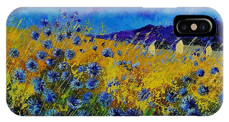 Poppies IPhone X Case featuring the painting Blue cornflowers by Pol Ledent