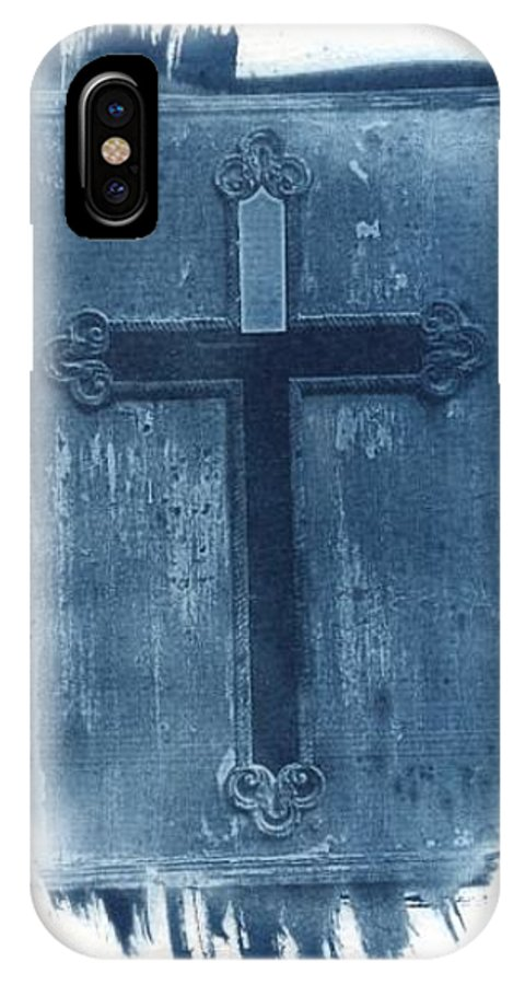 Cyanotype IPhone X Case featuring the photograph Blue Cross by Jane Linders