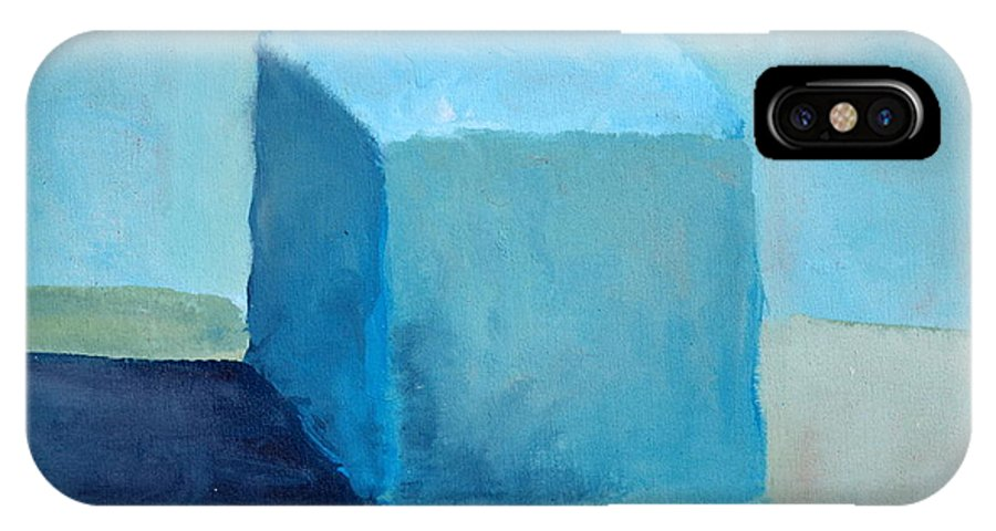Blue IPhone Case featuring the painting Blue Cube Still Life by Michelle Calkins