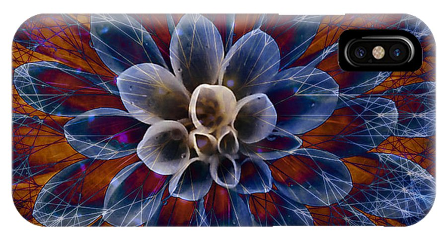 Flower IPhone X Case featuring the digital art Blue Dahlia by Barbara Berney