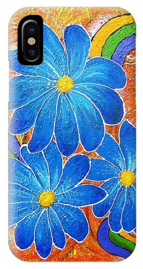 IPhone Case featuring the painting Blue Daisies Gone Wild by Tami Booher