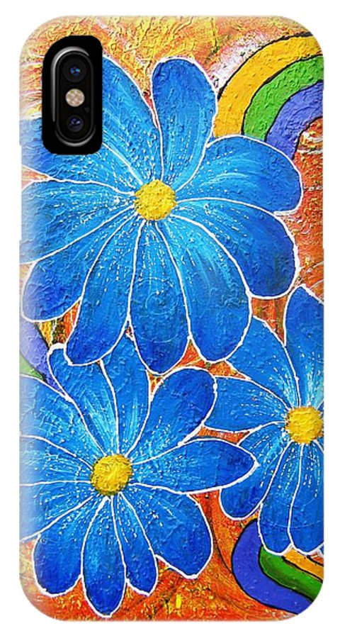 IPhone X Case featuring the painting Blue Daisies Gone Wild by Tami Booher