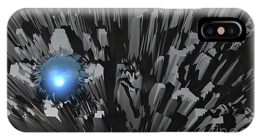 Blue IPhone X Case featuring the digital art Blue Diamond In The Rough by Phil Perkins