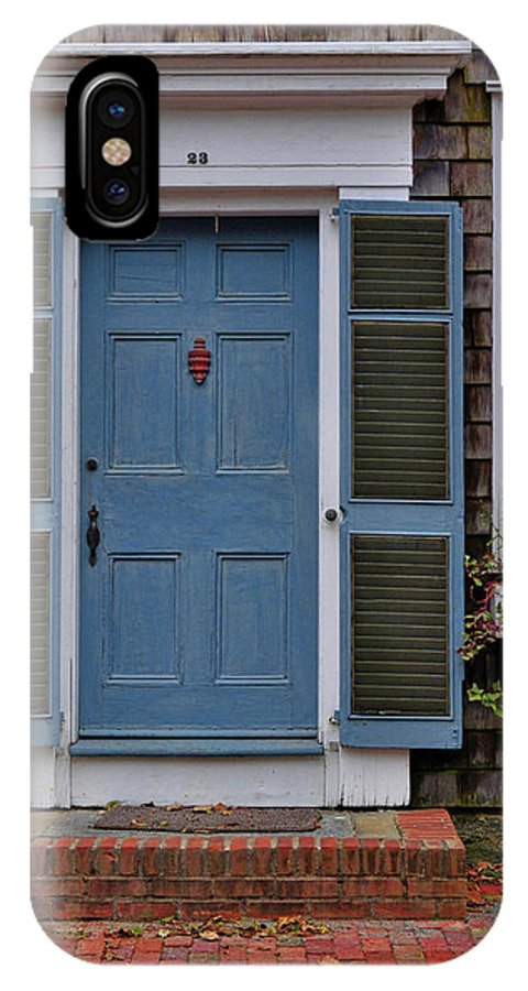 Nantucket IPhone X Case featuring the photograph Nantucket Blue Door by JAMART Photography