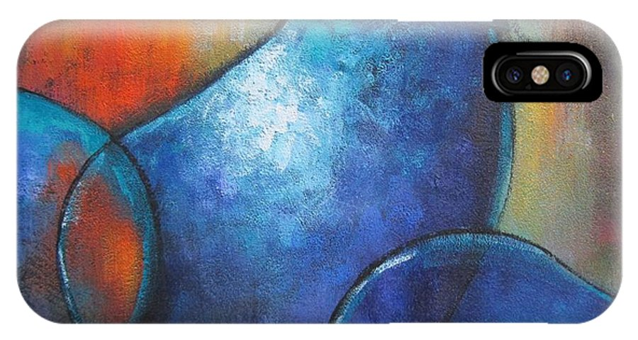 Food IPhone X Case featuring the painting Blue Eggplants by Chris Hobel