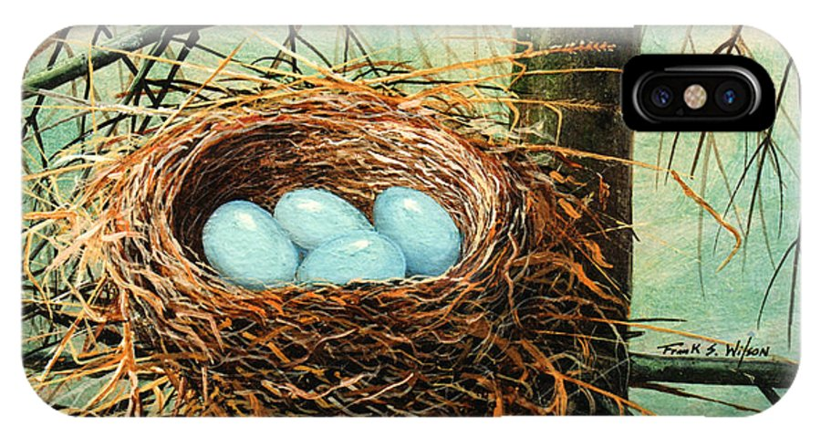 Wildlife IPhone X Case featuring the painting Blue Eggs In Nest by Frank Wilson