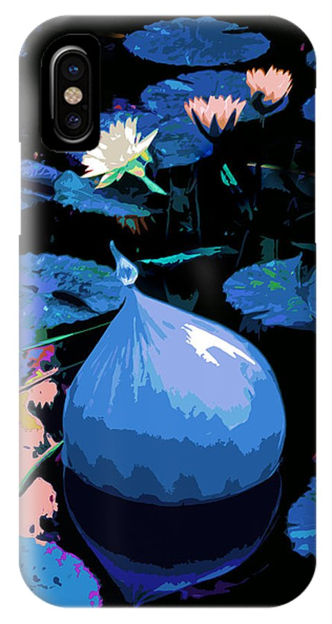 Garden Pond IPhone X Case featuring the photograph Blue Evening On The Pond by John Lautermilch