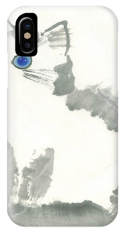 Blue-eye Kitten Sitting Still. This Is A Contemporary Chinese Ink And Color On Rice Paper Painting With Simple Zen Style Brush Strokes.  IPhone X Case featuring the painting Blue-Eye by Mui-Joo Wee