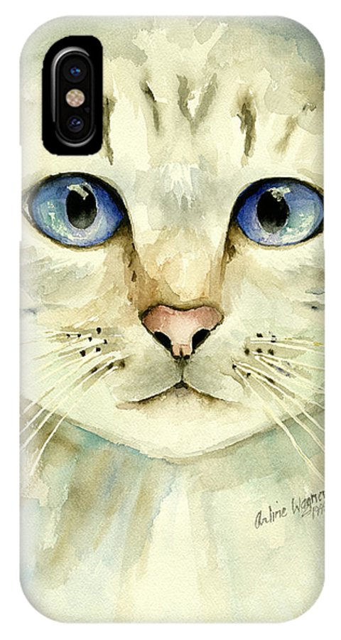 Cat IPhone Case featuring the painting Blue-eyed Cat by Arline Wagner