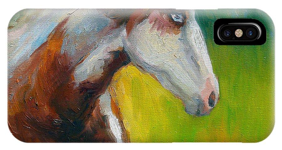 Paint Horse Painting IPhone X Case featuring the painting Blue-eyed Paint Horse Oil Painting Print by Svetlana Novikova