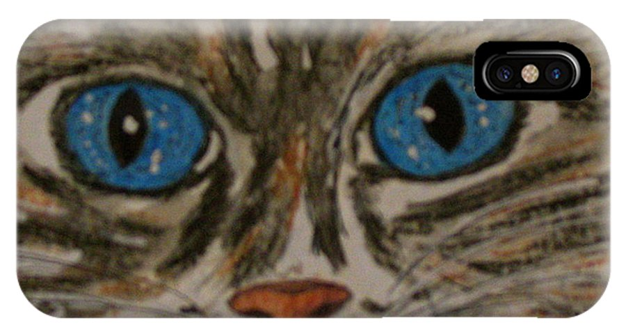 Blue Eyes IPhone X Case featuring the painting Blue Eyed Tiger Cat by Kathy Marrs Chandler