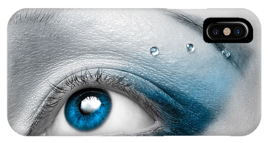 Eye IPhone X Case featuring the photograph Blue Female Eye Macro With Artistic Make-up by Oleksiy Maksymenko