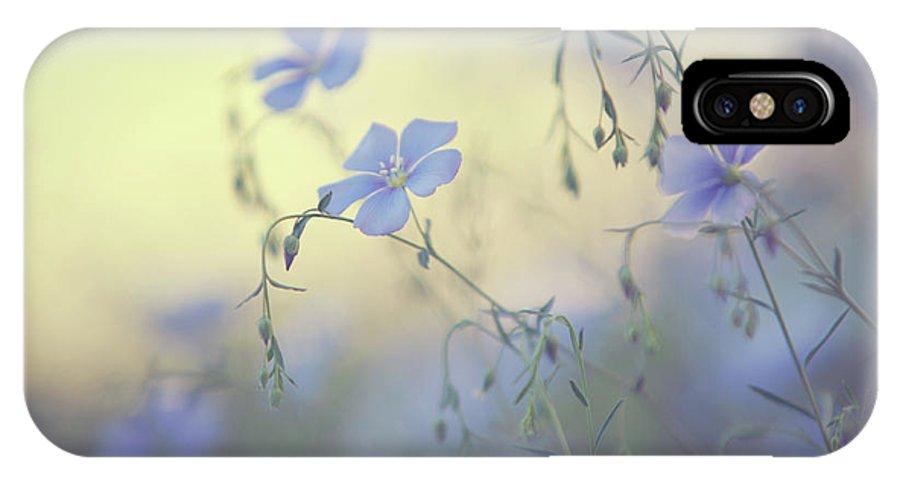 Jenny Rainbow Fine Art Photography IPhone X Case featuring the photograph Blue Flex Flower. Nostalgic by Jenny Rainbow