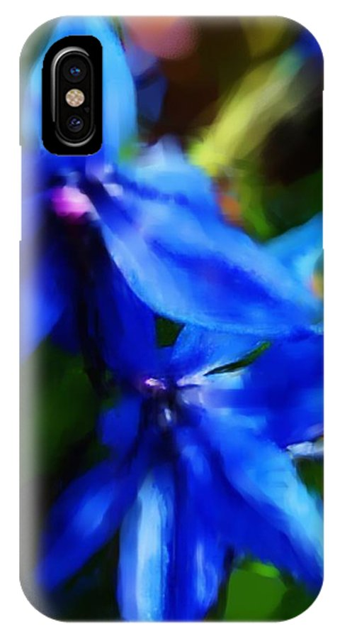 Digital Photograph IPhone X Case featuring the photograph Blue Flower 10-30-09 by David Lane