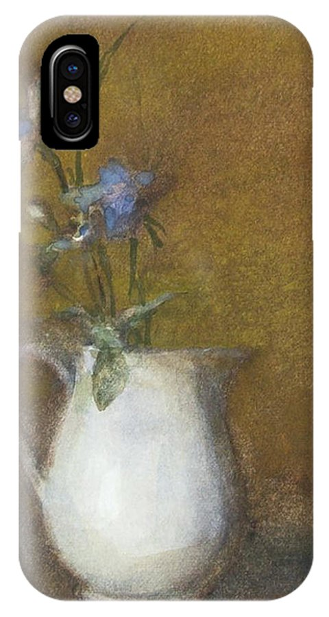 Floral Still Life IPhone X Case featuring the painting Blue Flower by Joan DaGradi