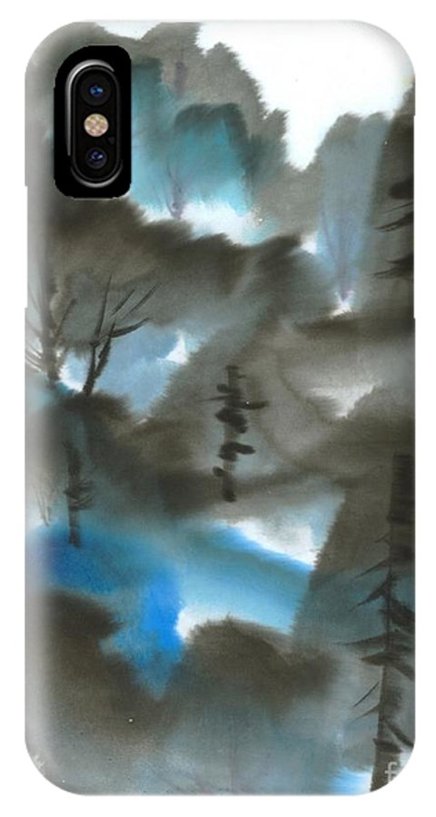 A Forest With A Tint Of Blue. This Is A Contemporary Chinese Ink And Color On Rice Paper Painting With Simple Zen Style Brush Strokes.  IPhone X Case featuring the painting Blue Forest by Mui-Joo Wee