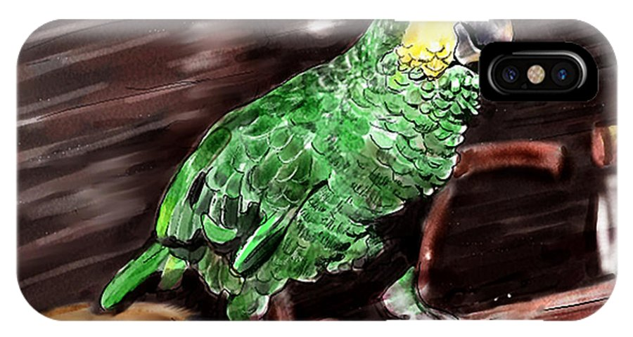 Bird IPhone X Case featuring the digital art Blue-fronted Amazon Parrot by Arline Wagner