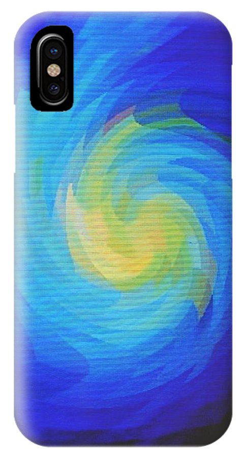 Blue IPhone X Case featuring the digital art Blue Galaxy by Ian MacDonald