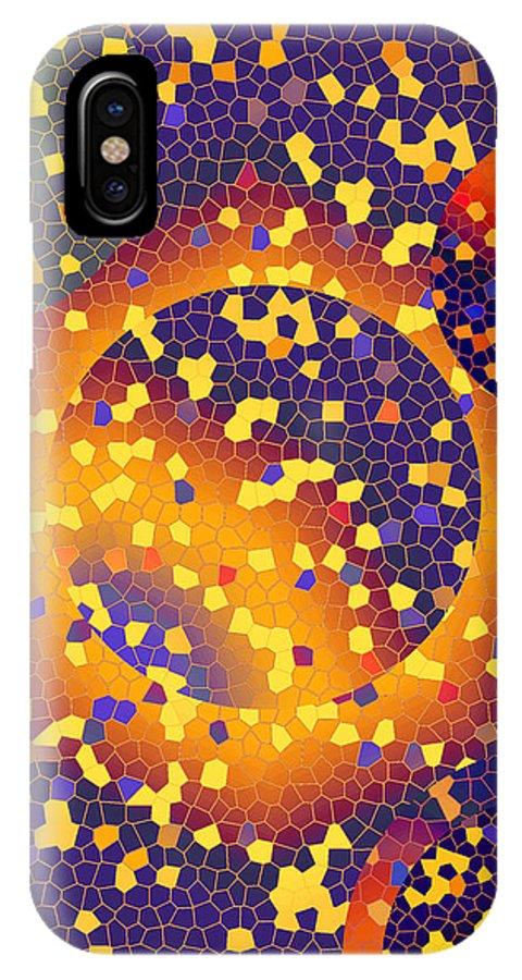 Abstract IPhone X Case featuring the digital art Blue Galaxy by Lynda Lehmann