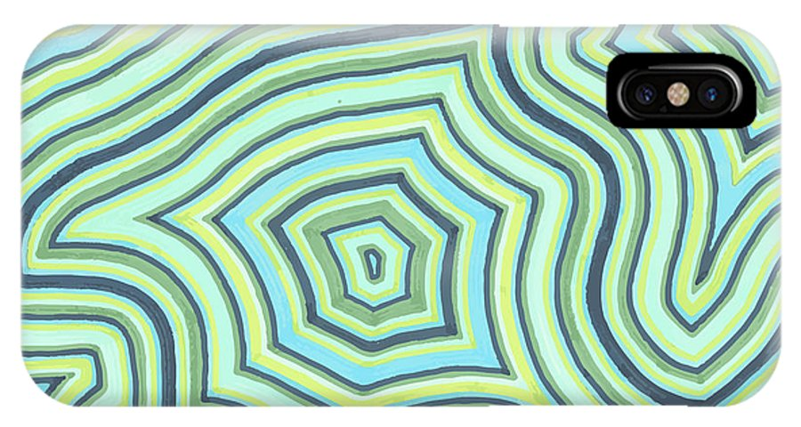 Abstract IPhone X Case featuring the drawing Blue Green Pattern Play by Jill Lenzmeier