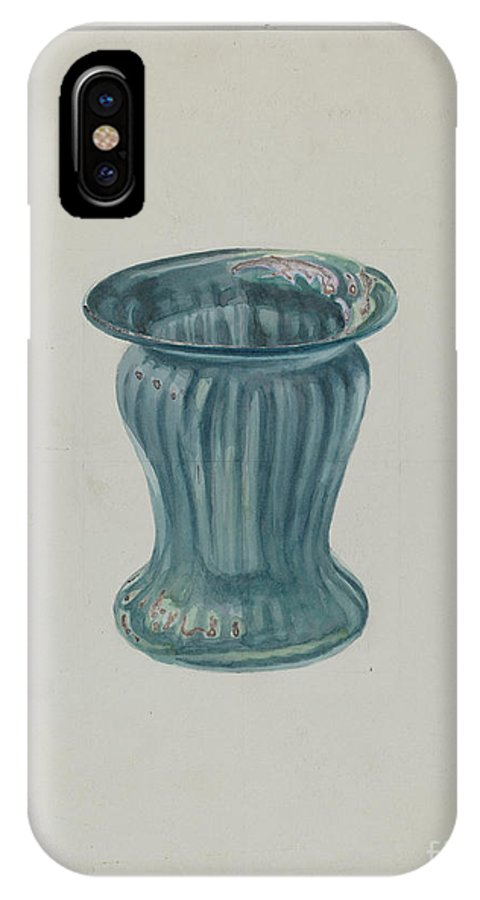 IPhone X Case featuring the drawing Blue-green Vase by Marcus Moran