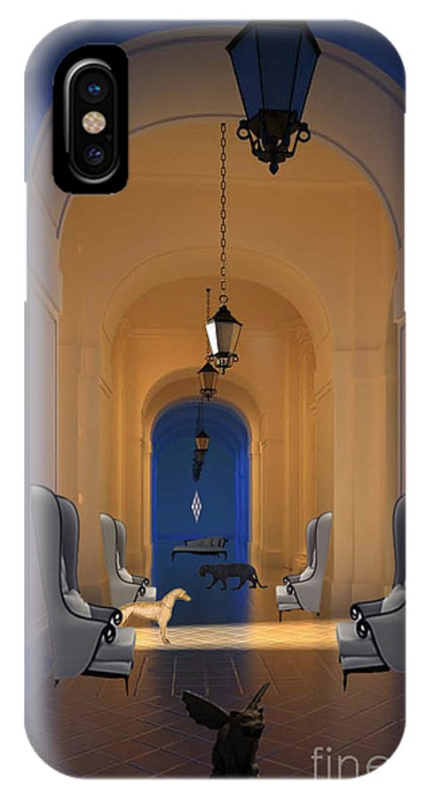 Architecture IPhone X Case featuring the digital art Blue Hall No. 3 by Mircea Caraman
