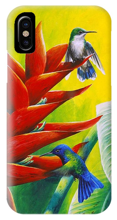 Chris Cox IPhone X Case featuring the painting Blue-headed Hummingbirds and heliconia by Christopher Cox