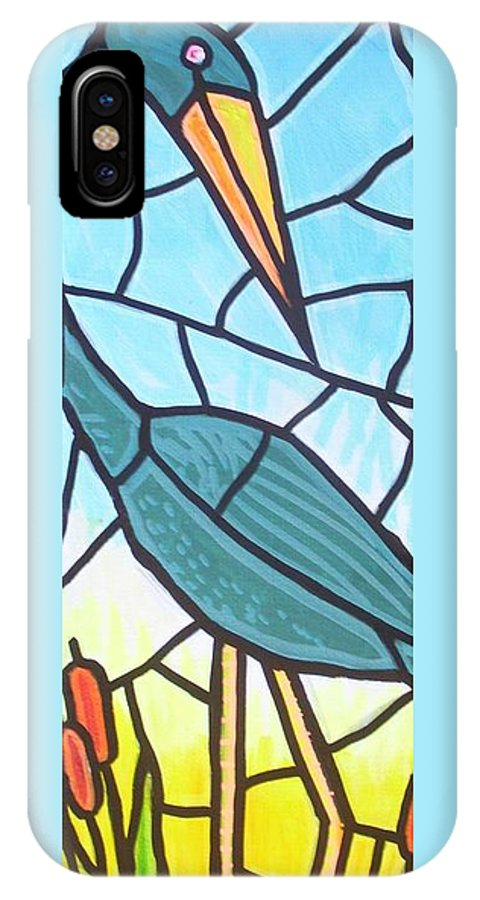 Heron IPhone Case featuring the painting Blue Heron by Jim Harris