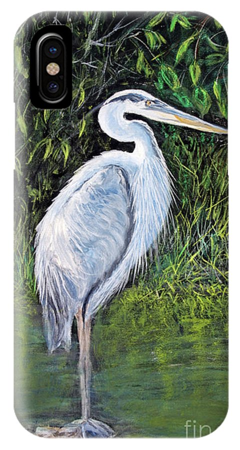 Animal IPhone X Case featuring the painting Blue Heron by Lyric Lucas