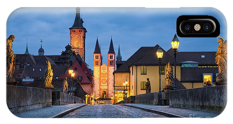 Altstadt IPhone X / XS Case featuring the photograph Blue Hour In Wuerzburg by Michael Abid