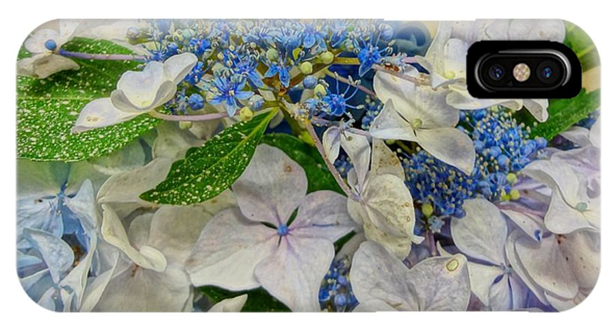 Blue IPhone X Case featuring the photograph Blue Hydrangeas by Susan Bryant