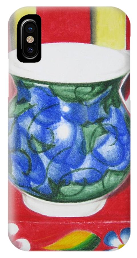 Blue Jarrito IPhone X Case featuring the painting Blue Jarrito by Lynet McDonald