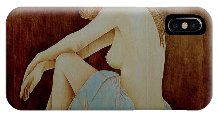 Pyrography; Woodburning; Nude; Profile; IPhone X Case featuring the pyrography Blue by Jo Schwartz