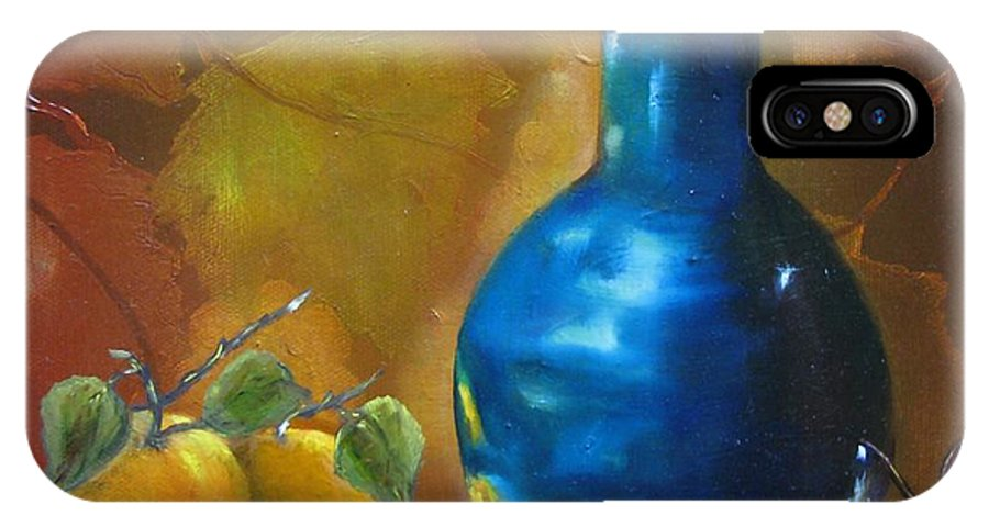 Bottle IPhone X Case featuring the painting Blue Jug On The Shelf by Carol Sweetwood