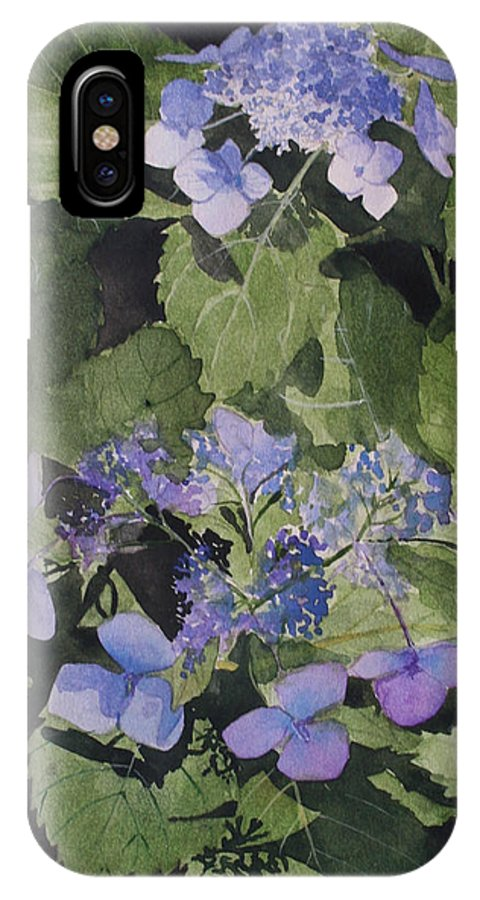 Flowers IPhone X Case featuring the painting Blue Lace by Jean Blackmer
