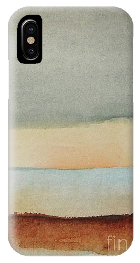 Abstract IPhone X Case featuring the painting Blue Lagoon by Vesna Antic