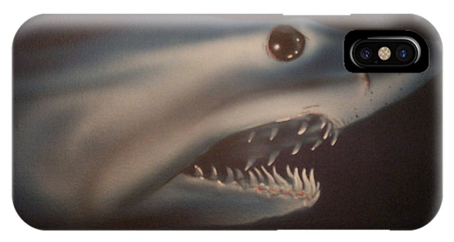 Airbrushed IPhone Case featuring the painting Blue Lightning by Mike Moss