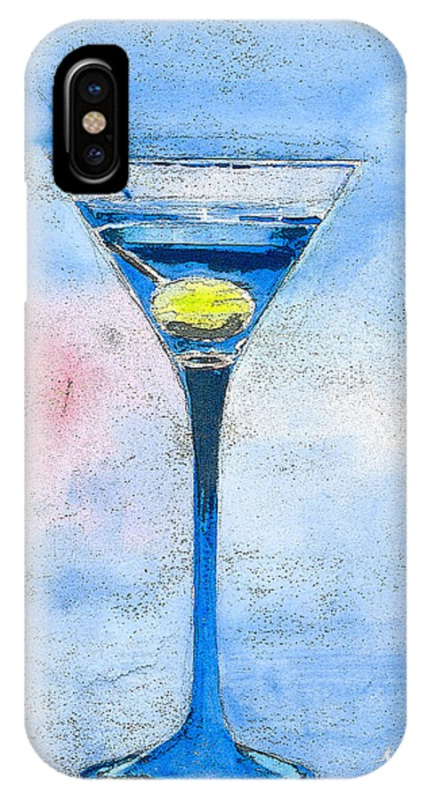Martini IPhone X Case featuring the painting Blue Martini by Arline Wagner