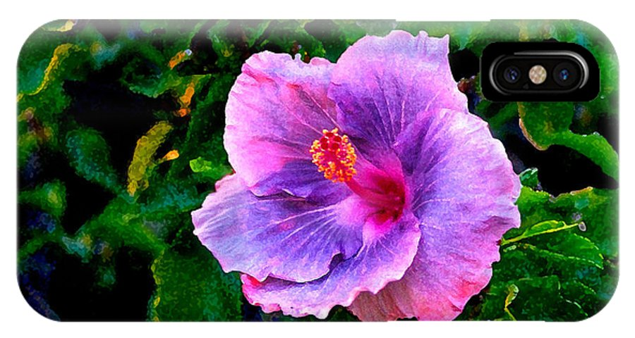 Flower IPhone X Case featuring the photograph Blue Moon Hibiscus by Steve Karol