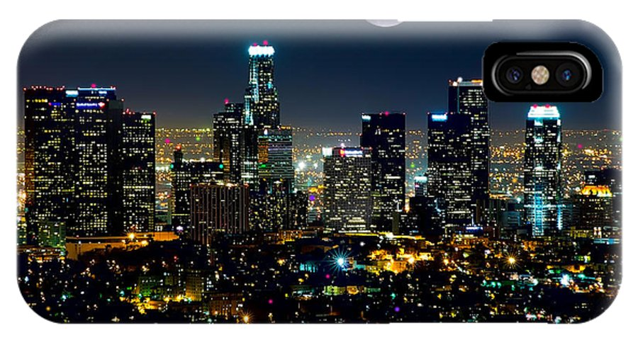 L.a. City IPhone X Case featuring the mixed media Blue Moon Over L.a. by Garland Johnson