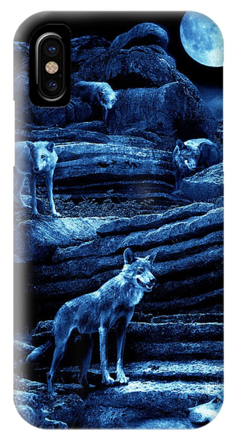 Wolf IPhone X Case featuring the photograph Blue Moon Wolf Pack by Mal Bray