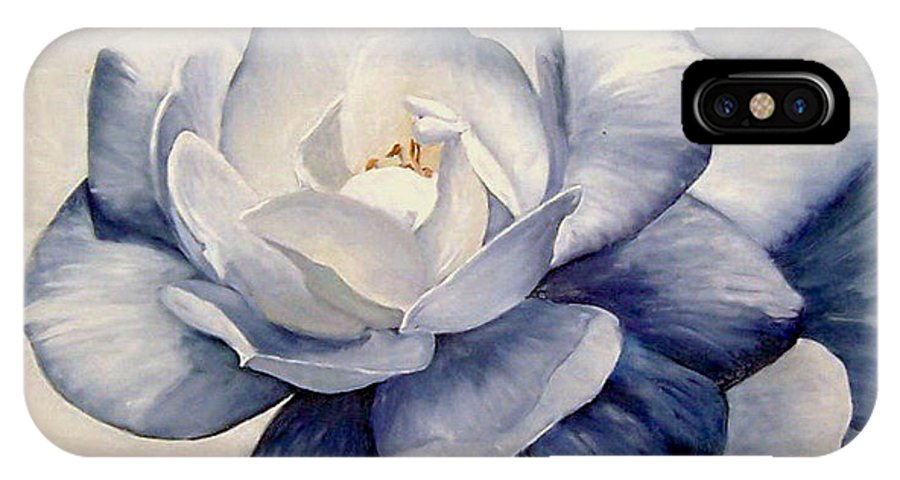 Flower Macro Nature Blue Gardenia IPhone X Case featuring the painting Blue by Natalia Tejera
