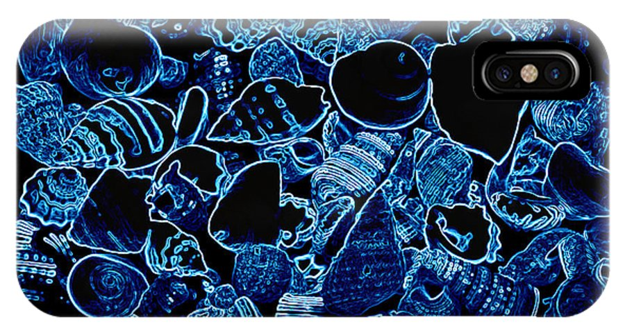 Blue IPhone X Case featuring the photograph Blue Neon Shells by Tina Meador